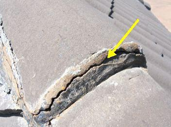 Bad mortar work on roof capping causes roof leaks
