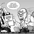 Cartoon of Minister Nhleko advising Mantashe that further money is needed to finish the presidential compound at Nkandla.