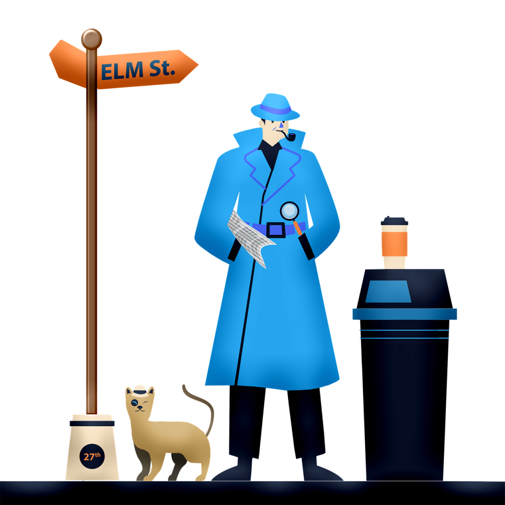 detective, cat, cartoon
